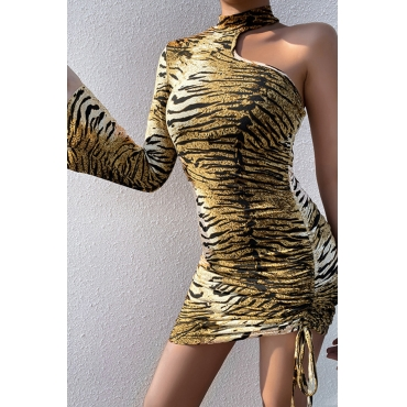 Lovely Casual One Shoulder Tiger Stripes Mini Dress