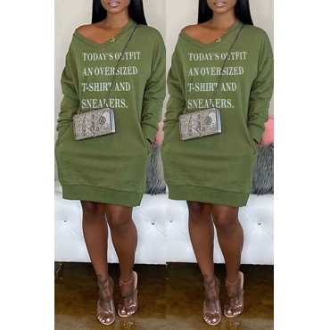 Lovely Casual Letter Printed Army Green Mini Dress