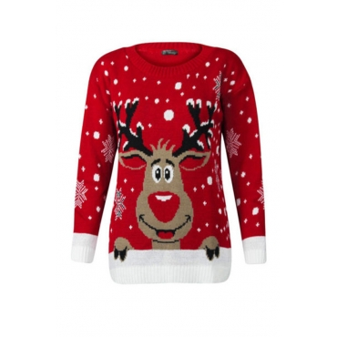 Lovely Casual O Neck Christmas Deer Red Plus Size Sweater