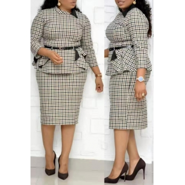 Lovely Casual Printed Black Plus Size Two-piece Skirt Set(Without Belt)