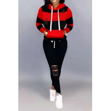 Lovely Casual Hooded Collar Hollow-out Black Two-piece Pants Set