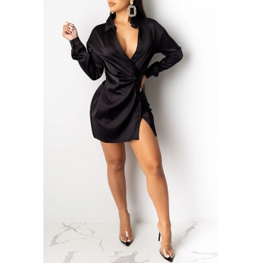 Lovely Trendy Turndown Collar Black Mini Dress