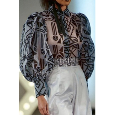 Lovely Casual Geometric Printed Grey Blouse