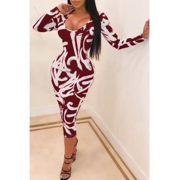 Lovely Leisure U Neck Printed Skinny Red Mid Calf Dress
