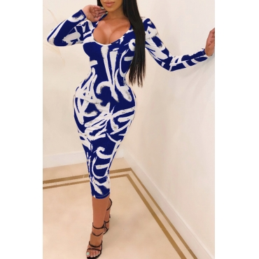 Lovely Leisure U Neck Printed Skinny Blue Mid Calf Dress