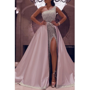 Lovely Party Sleeveless Patchwork Pink Floor Length Evening Dress