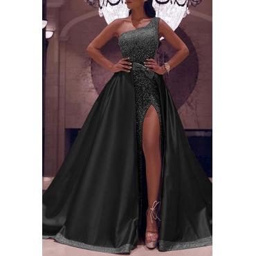 Lovely Party Sleeveless Patchwork Black Floor Length Evening Dress