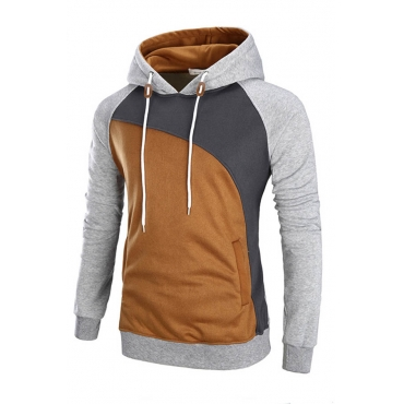 Lovely Trendy Hooded Collar Patchwork Light Grey Hoodie