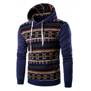Lovely Bohemian Hooded Collar Printed Blue Hoodie