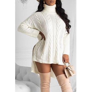 Lovely Casual Turtleneck White Mini Dress