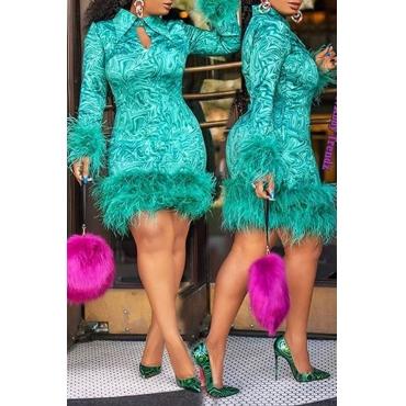 Lovely Sweet Tassel Design Patchwork Green Mini Dress