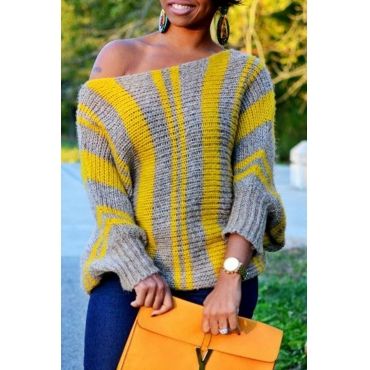 Lovely Casual Striped Loose Yellow Sweater