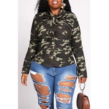 Lovely Stylish Camouflage Army Green Plus Size Blouse