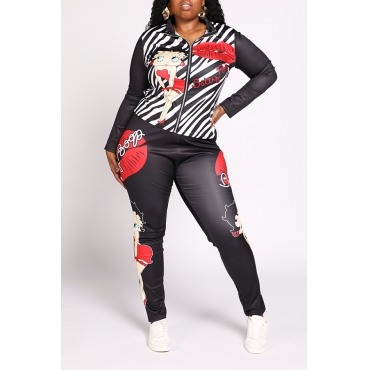 Lovely Casual Lip Printed Black Plus Size Two-piece Pants Set