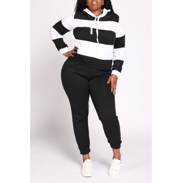 Lovely Casual Striped Patchwork Black Plus Size Two-piece Pants Set