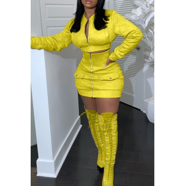 Lovely Casual Zipper Design Yellow Two-piece Skirt Set