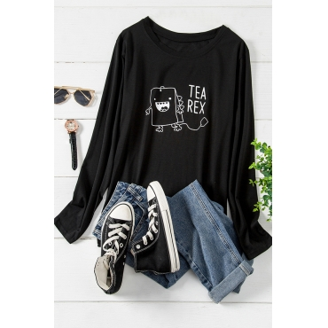 Lovely Casual O Neck Letter Black Plus Size T-shirt