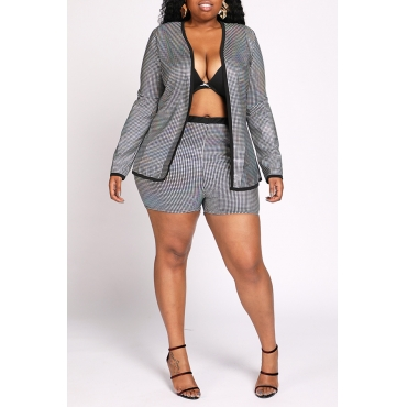 Lovely Trendy Patchwork Silver Two-piece Shorts Set