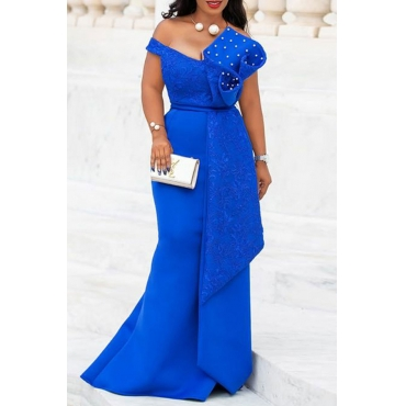 Lovely Party Ruffle Design Blue Trailing Evening Dress