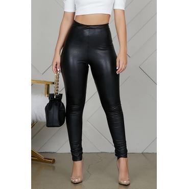 Lovely Casual Skinny Black PU Pants