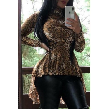 Lovely Casual Leopard Brown Blouse