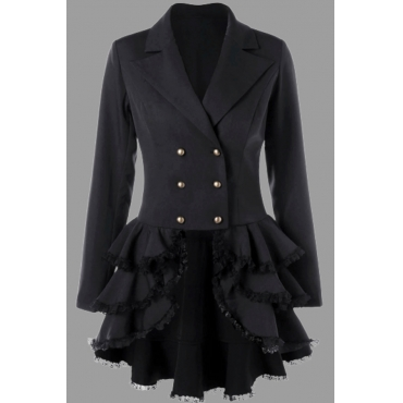 Lovely Casual Turn-back Collar Flounce Design Black Plus Size Coat