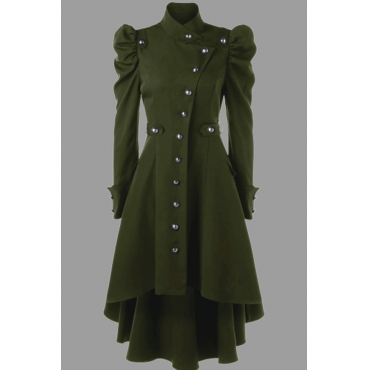 Lovely Work Buttons Design Green Plus Size Coat