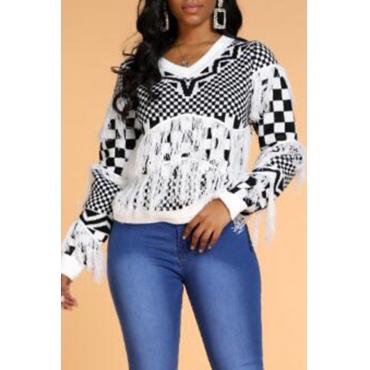 Lovely Trendy Tassel Design Geometric White Sweater