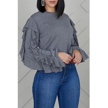Lovely Trendy Flounce Design Grey Sweatshirt Hoodie