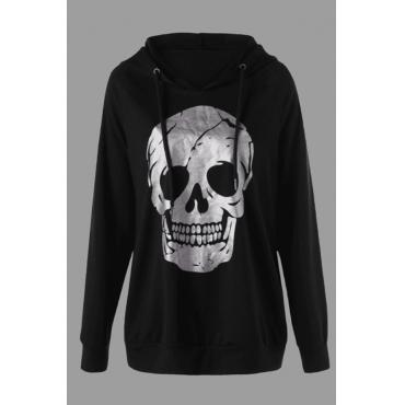 Lovely Casual Skull Print Black Plus Size Hoodie