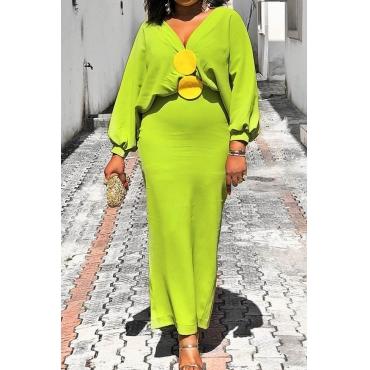 Lovely Trendy V Neck Basic Green Ankle Length Plus Size Dress