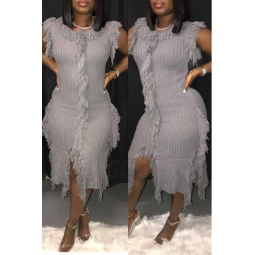 Lovely Trendy Tassel Design Grey Mid Calf Dress