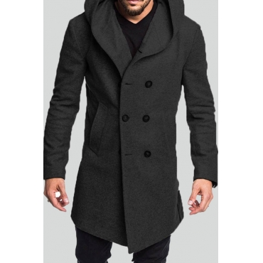Lovely Trendy Hooded Collar Black Coat