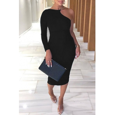 Lovely Stylish One Shoulder Black Mid Calf Dress