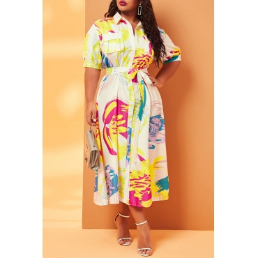 Lovely Casual Print Multicolor Mid Calf Plus Size Dress