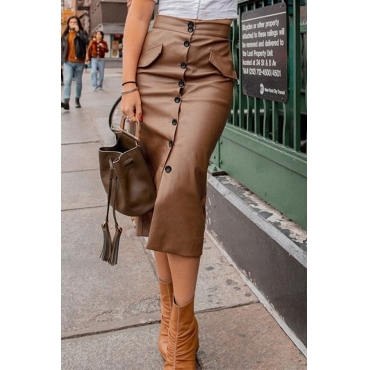 Lovely Casual Straight Buttons Brown Knee Length Skirt