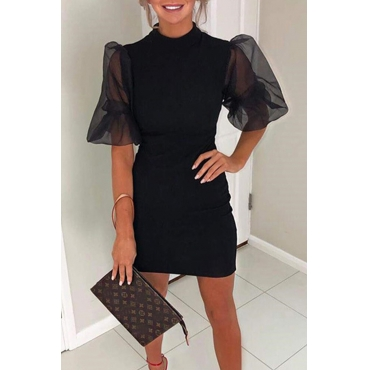 Lovely Sweet O Neck Patchwork Black Mini Dress