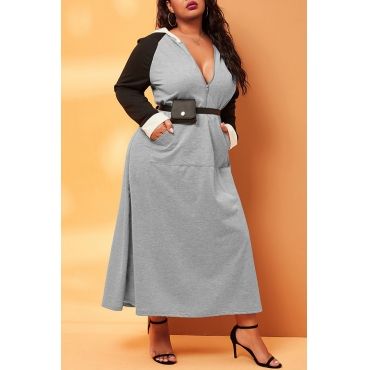 Lovely Casual Patchwork Grey Ankle Length Plus Size Dress