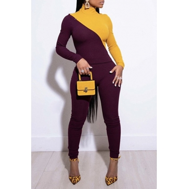 Lovely Chic Patchwork Yellow Two-piece Pants Set