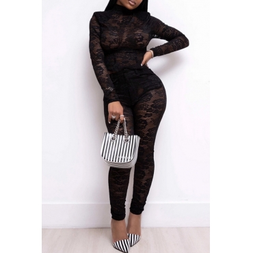 Lovely Sexy Lace Black One-piece Jumpsuit