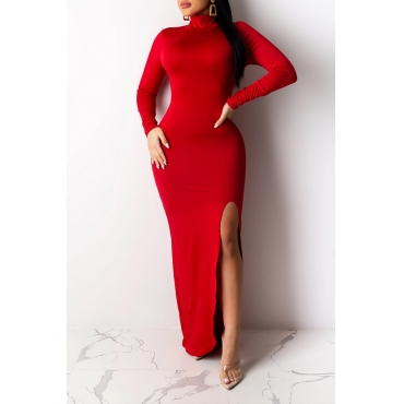 Lovely Chic Turtleneck Skinny Red Maxi Dress