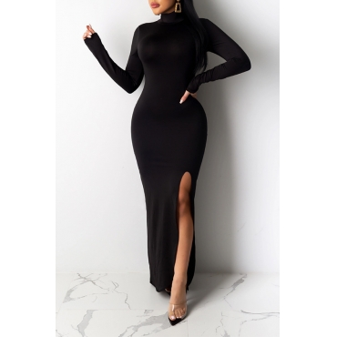 Lovely Chic Turtleneck Skinny Black Maxi Dress