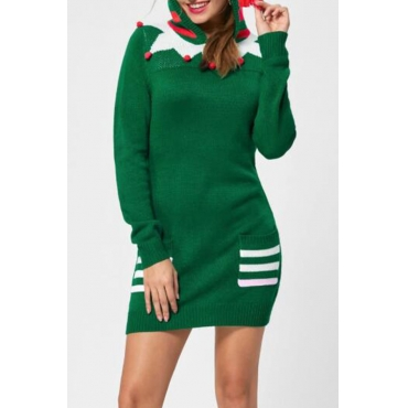 Lovely Sweet Print Green Mini Dress