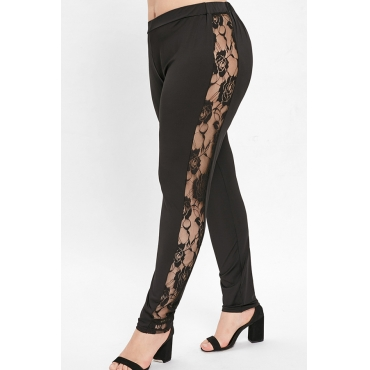 Lovely Chic Hollow-out Black Plus Size Pants