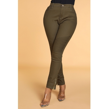 Lovely Casual Zipper Design Green Pants