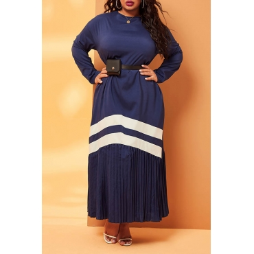 Lovely Casual Patchwork Ruffle Design Blue Ankle Length Plus Size Dress