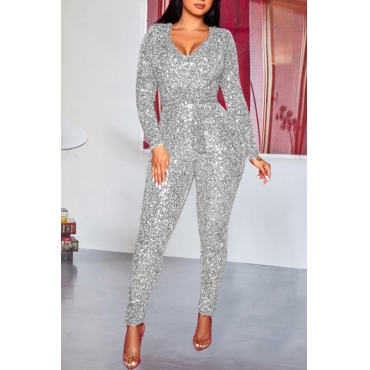 Lovely Sexy Skinny Silver One-piece Jumpsuit