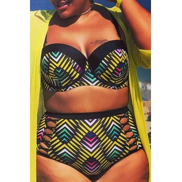 Lovely Print Yellow Plus Size Two-piece Swimwear