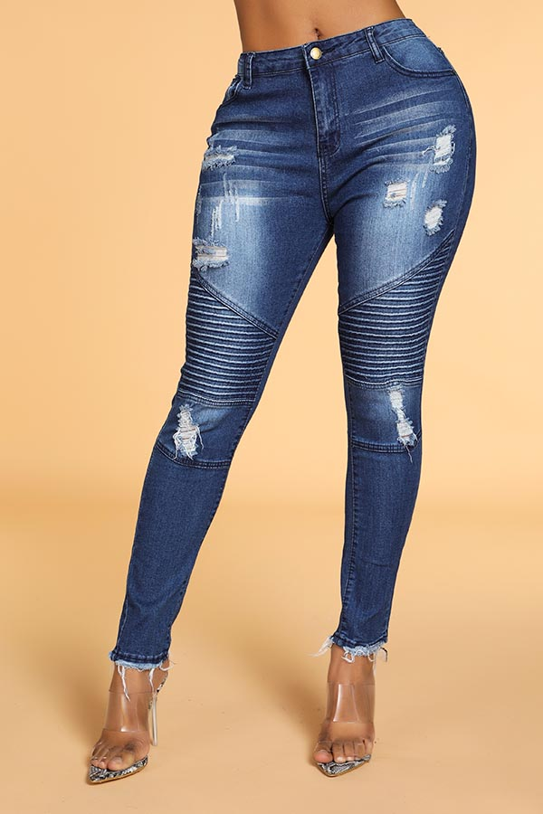 Lovely Trendy Ruffle Patchwork Blue Jeans