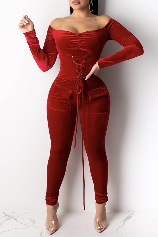 Lovely Stylish Bandage Design Red One-piece Jumpsuit